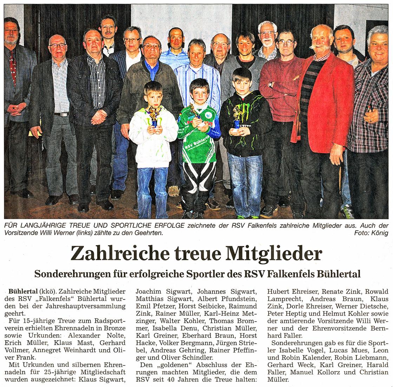 Zahlreiche Treue Mitglieder Rsv Falkenfels Buhlertal