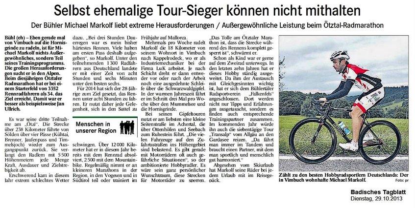 2013 Außergewöhnliche Leistung beim Ötztal-Radmarathon