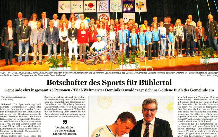 Sportlerehrung der Gemeinde Bühlertal